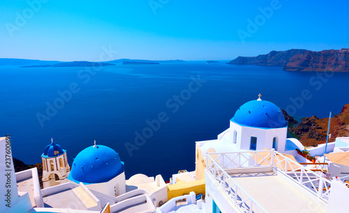 Oia village in Santorini island Wallpaper Mural