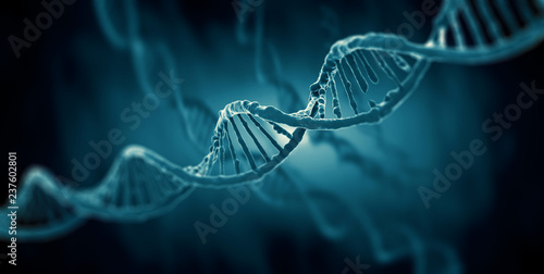Fototapeta 3d render of dna structure, abstract background obraz