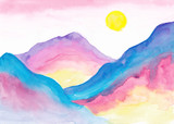 Fantastic alien landscape Colorful watercolor mountains Gradient Ombre Blue pink yellow purple Morning background - 237603276
