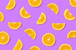 canvas print picture - Colorful fruit pattern of orange slices