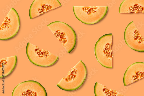 Stampa su Tela Colorful fruit pattern of melon slices