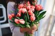 Bouquet of tulips in hands
