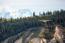 An Airplane Landing At A Small Airport In Wrangell-St. Elias National Park (Alaska)