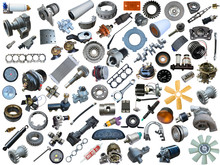 Spare Parts Car On The White Background. Set With Many Isolated Items For Shop Or Aftermarket