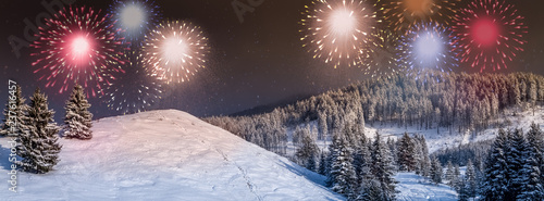 Photo  New Year card, New Year's eve background with colorful, party fireworks display