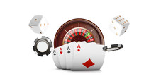 Playing Cards And Poker Chips Fly Casino. Casino Roulette Concept On White Background. Poker Casino  Illustration. Red And Black Realistic Chip In The Air. Gambling Poker Mobile App Icon.