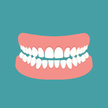 Denture Icon. Icon Gums With Teeth Or Dentures. Dental Prosthesis, Tooth Orthopedics Sign, Teeth Image, Icon Dental. Vector Illustration.