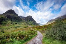 Hiking Trail Through The Glen Coe Valley, Highlands, Scotland, Great Britain