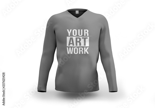Gray Longsleeve Shirt Mockup  Buy this stock template and