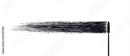 Valokuvatapetti Vector make-up cosmetic mascara brush stroke texture design isolated on white