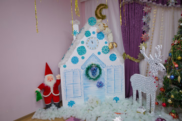 New Year background to take photo . Winter holiday concept, decorated Christmas tree in the interior of photography . House, Dog, curtain