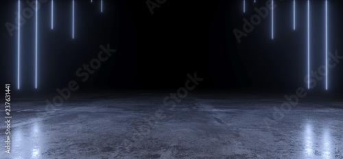 Fototapeta Abstract Shaped Sci Fi Futuristic Modern Vibrant Glowing Neon Purple Pink Blue Laser Tube Lights In Long Dark Empty Grunge Texture Concrete Tunnel Background 3D Rendering obraz