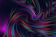 Abstract Iridescent Geometric Pattern With Waves. Colorful Striped Texture. Raster Illustration