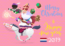 Saint Nicolas Riding A Horse, Bring Presents To Children At Sinterklaas - Traditional Winter Holiday In Netherlands. His Little Helper - Zwarte Pete Helps To Deliver The Gifts To Children. Vector Card