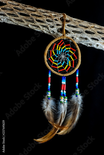 Fotografie, Obraz  Native American Dream Catcher on Black