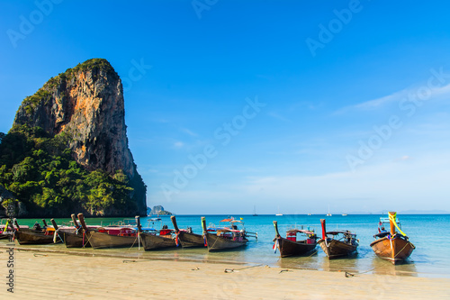 Foto op Plexiglas Asia land Amazing view of beautiful Ao Nang Beach with longtale boats. Location: Krabi Province, Thailand, Andaman Sea. Artistic picture. Beauty world.