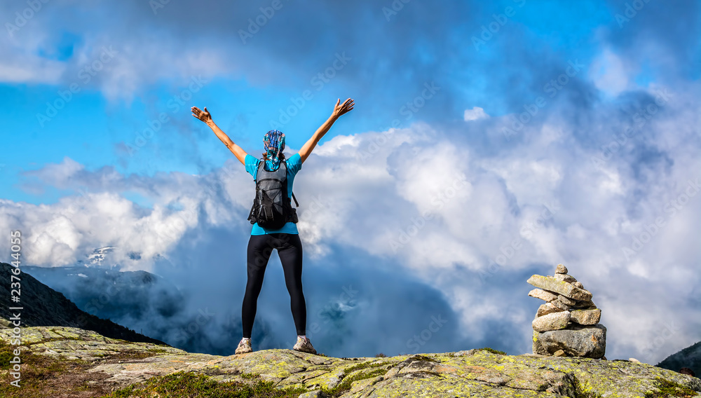 Fototapety, obrazy: Amazing nature view on the way to Trolltunga. Location: Scandinavian Mountains, Norway, Stavanger. Artistic picture. Beauty world. The feeling of complete freedom.