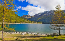 Lake Of Ceresole Reale, Near The Nivolet Pass, Clear Autumn Morning, Blue Sky, Piedmont, Italy