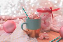 Hot Chocolate And Marshmallow. Holiday Feeling. Christmas Eve.