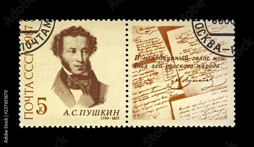 Photo  Pushkin Alexander (1799-1837),  famous russian  poet, verse writer, circa 1987