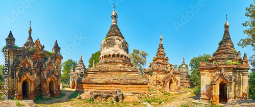 Panorama of red brick Daw Gyan pagoda with scenic shrines and stupas preserved since olden times, Ava (Inwa), Myanmar Wallpaper Mural