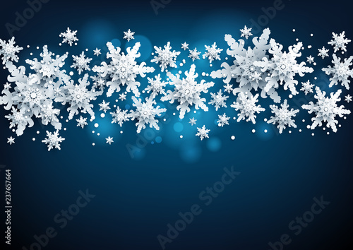 Fotobehang - Realistic snowflakes Banner with place for text template. Paper cut snow decoration nature background.