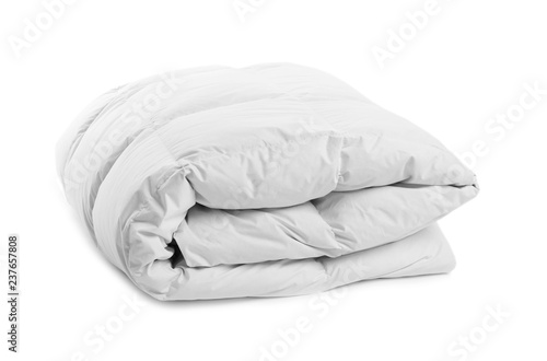 Obraz Folded clean blanket on white background. Household textile - fototapety do salonu