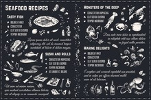 Seafood Recipes Chalk Drawing Sketches. Vector