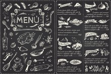 Vintage Menu Main Page Design. Hand Drawn Vector