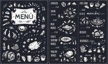 Vintage Chalk Drawn Menu Vecto...
