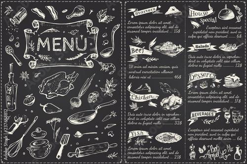 Carta da parati Vintage menu main page design. Hand drawn vector