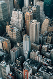 Fototapeta New York - A bird's eye view of buildings in Midtown Manhattan, New York City