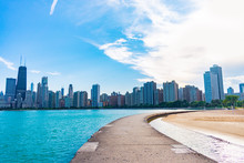 Path Along North Avenue Beach With Sunny Chicago Skyline In The Summer