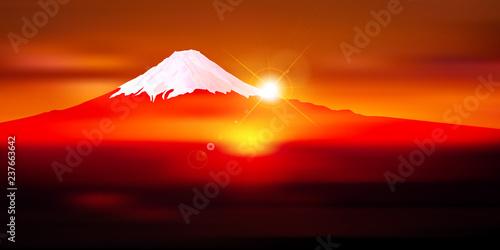 富士山 日の出 年賀状 背景 Fototapete