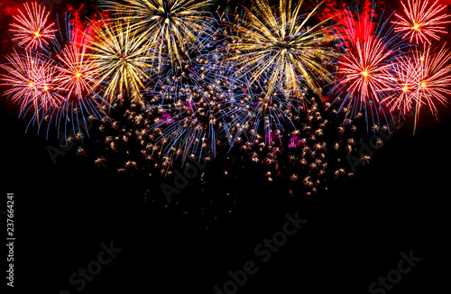 Colorful fireworks festival happy new year Billede på lærred