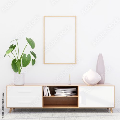 Modern living room interior with a wooden dresser and a poster mockup, 3D render Fototapet