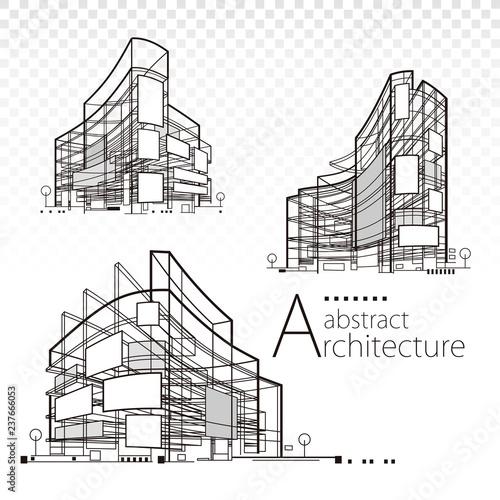 Obraz 3D illustration architecture abstract modern building design set. - fototapety do salonu