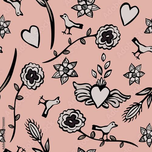 Fotografija  Happy and romantic Mexican folk art vector seamless pattern