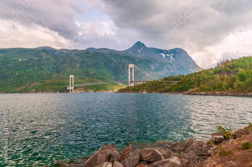 Fotografie, Tablou  View of the Skjomen Bridge across the Skjomen fjord.Norway