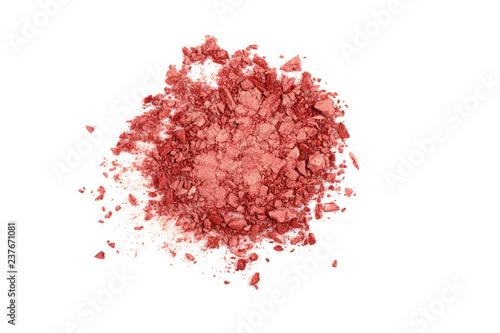 Obraz na płótnie Smashed coral eyeshadow isolated on a white background