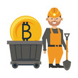 Mining bitcoin and worker with shovel and wagon
