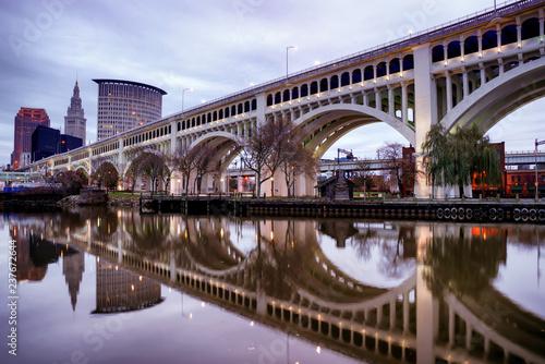 Fotografie, Obraz  Detroit Superior Bridge over Cuyahoga River in Cleveland, Ohio, USA