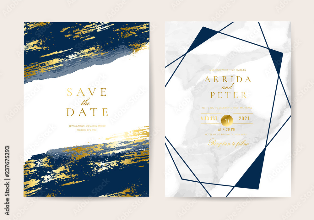 Fototapety, obrazy: Wedding invitation cards with marble texture background and gold geometric  line design vector.