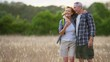 Healthy senior Caucasian American couple outdoors hiking and enjoying retirement