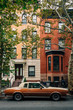 Vintage car and houses in Greenpoint, Brooklyn, New York City