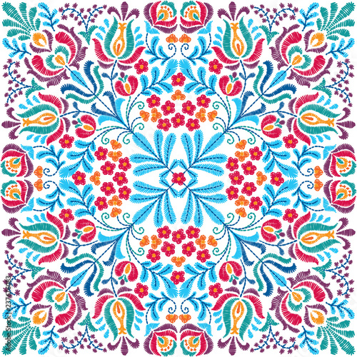 Tuinposter Marokkaanse Tegels Vector seamless decorative floral embroidery pattern, ornament for textile, kerchief, pillow or handbag decor. Bohemian handmade style background design.