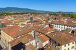 View on city from Torre delle Ore clock tower in Lucca. Italy