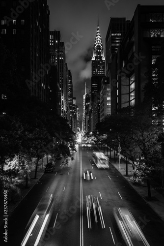 42nd Street at night from Tudor City, in Midtown Manhattan, New York City Canvas Print