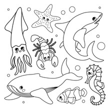Vector Set Of Underwater Animals. Coloring Book  For Kids.