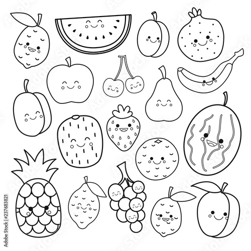 Vector set of cute fruits. Coloring book for kids. - Buy this stock ...